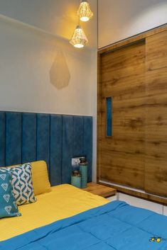 2BHK Apartment Interiors With Vibrant Tint & Shades Of Colors | Tvashta Architects & Interiors - The Architects Diary Latest House Designs, Bed Back, Headboard Designs, Wardrobe Design, Apartment Interior, Bedroom Storage, Interior Decorating, Interior Design, Interior Architecture