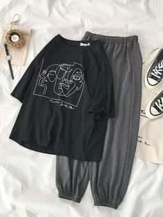Stylist Tips: Perfect casual tee. style with denim shorts and sneakers. Fit/Detailing: One size fits most - S/M oversized, M/L Regular fit Cotton/Polyester Blend Unlined Girls Fashion Clothes, Teen Fashion Outfits, Retro Outfits, Look Fashion, Korean Fashion, Girl Outfits, Fashion Tips, French Fashion, Cute Lazy Outfits