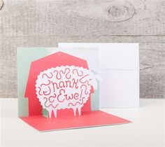 Simple Pop-up Cards Cricut cartridge -- Thank Ewe pop-up card. Make It Now with the Cricut Explore machine in Cricut Design Space.