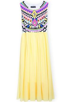 Yellow Sleeveless Geometric Tribal Print Chiffon Dress - Sheinside.com Mobile Site