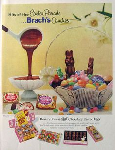 1957 Brach's Easter Candy Ad ~ Chocolate Bunnies & Eggs