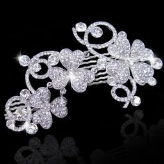 "Bridal Bridesmaid 4.72"" Big Flower Clover Hair Comb Piece Austrian Crystal Clear"