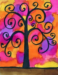 Klimt Tree-pencil tree outline, use black sharpie, make trunk and limbs thicker as desired. Blotch watercolors and let dry.
