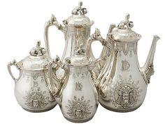 American Sterling Silver Four Piece Coffee Service - Empire Style - Antique Circa 1860  SKU: A4945 Price: GBP £4,950.00  http://www.acsilver.co.uk/shop/pc/American-Sterling-Silver-Four-Piece-Coffee-Service-Empire-Style-Antique-Circa-1860-67p8716.htm