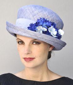 13771444 Kentucky Derby Hat Womens Ladies Blue Hat Wedding Hat   Etsy Straw Hats, Women's  Hats