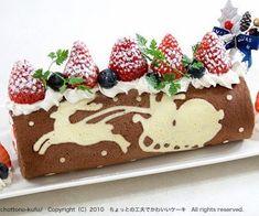 Beautiful Christmas Cake Roll Chocolate/White Chocolate with Berries.