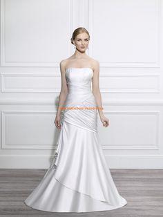 Robe de mariée simple sirène en satin drapé