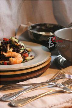 Riso Venere in insalata con gamberi e scamorza | cuoca nella brianza