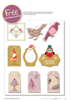 Free printable gift tags | Sweet Living Magazine Issue 5