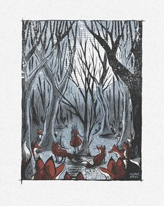 In the Fox Forest - Screenprinted Art Print. $35.00, via Etsy.
