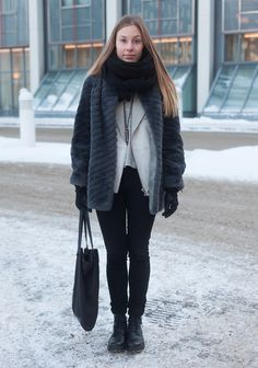 "Katja, 26    ""I bought my second hand sheep fur coat by Kokkolan Turkis for 5 euros in Kokkola. The jeans are Cheap Monday and the shoes Vagabond.    My style is casual and Scandinavian. I like to mix new with old and I appreciate good materials.""  24 January 2013, Salomonkatu"