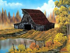 Peaceful Landscape Paintings by Bob Ross  - Bob Ross oil paintings : Rustic Barn  14