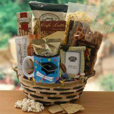 Graduation Photos, Graduation Ideas, Graduation Gifts, White Cheddar Popcorn, Chocolate Gifts, Tortilla Chips, Pretzels, Gift Baskets, Latte