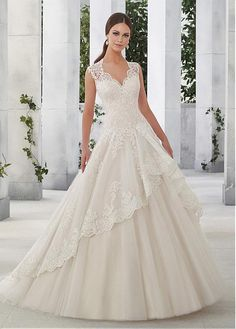 Junousque Tulle & Satin V-Neck A-Line Wedding Dresses With Sequined Lace Appliques