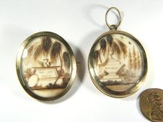 PAIR ANTIQUE FRENCH 14K GOLD MOURNING SEPIA HAIR LOCKETS PENDANT & BROOCH c1790 $1,809