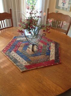 Hexagon Table Topper by Creating4Fun on Etsy, $90.00   Smaller version would make a good mug rug.: