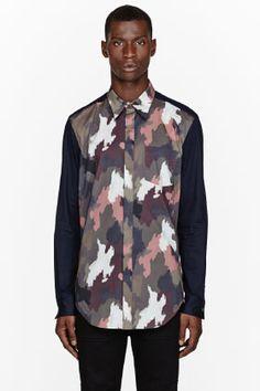 3.1 Phillip Lim Navy Camouflage-paneled Shirt for men | SSENSE