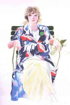 Celia drawn in crayon by Hockney