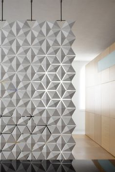Furniture. Inspiring And Artistic Modular Room Divider Design With White Colored Furniture With Three Diagonal Shape Pattern Hanging On Steel Hanger Furthermore Wooden Wall Cabinet Furniture.