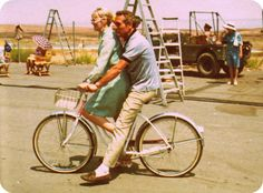 """ridesabike: """" Paul Newman and Joanne Woodward ride a bike. """" after seeing Butch Cassidy and The Sundance Kid, I am newly infatuated with Paul Newman Classic Hollywood, Old Hollywood, Hollywood Icons, Hollywood Stars, Paul Newman Joanne Woodward, Go Ride, Diahann Carroll, Faye Dunaway, Famous Couples"""
