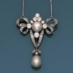 A belle époque pearl and diamond brooch/pendant, circa 1900 Designed as a festoon of looped ribbons millegrain-set with old brilliant, single and rose-cut diamonds, with an 8.1mm. bouton pearl to the centre and suspending a 10.0mm. drop-shaped pearl pendant with diamond foliate detail, pin probably later, length 4.1cm.