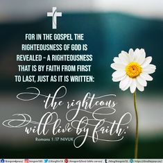"For in the gospel the righteousness of God is revealed—a righteousness that is by faith from first to last, just as it is written: ""The righteous will live by faith.""  Romans 1:17 NIV"