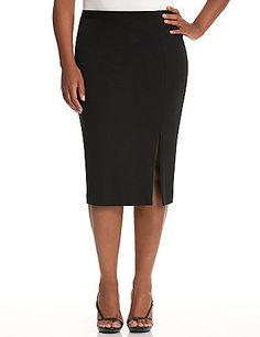With a zippered slit to adjust how much leg you show, this chic, mid-leg skirt always works it. High-quality ponte knit resists wrinkles, pilling and fading, so you look polished wear after wear. Hidden back zipper with hook & eye closure. lanebryant.com