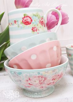 pretty pastel colours .. polka dots florals and stripes: GreenGate