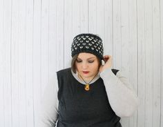 The Claire Knit Fair Isle Headband, Chunky Ear Warmer, Knit Headband, Fair Isle Headband, Ribbed Headband, Charcoal and Fisherman by willowsandwool on Etsy