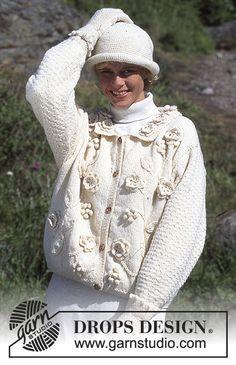 """Gebreid DROPS Vest met bloemen van """"Karisma"""", gebreide DROPS Sjaal van """"Camelia"""" en een gehaakte DROPS Hoed van """"Alaska"""". Maat S – L. ~ DROPS Design"""