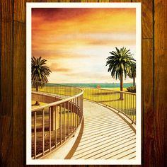 Jacka boulevard Footbridge in St. Kilda, an inner-suburb of Melbourne. Melbourne Art, Stationery Items, St Kilda, Pigment Ink, Image Shows, Printmaking, Nostalgia, Australia, Artists