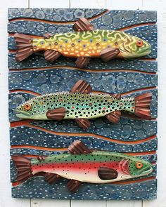 "Three of Rachel's fun fish sculptures in one 18"" x 24"" piece. Folk Art Vermont | Fish Art | Rachel Laundon"