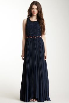 This ruched maxi dress is stretchy and super comfy, while still looking very elegant. Also in green