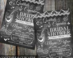 Rustic Bridal Shower Invitation, Chalkboard Invitation, Wine Tasting Bridal Shower Invite, DIY Printable