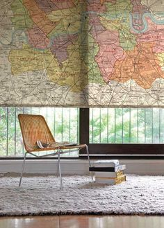A Map printed on a WindowShade looks very cool.    DYS ✄ Take Pages out of a Map and make Envelopes and Giftpaper out of them ;-)