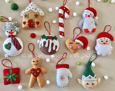 Set of Handmade Felt ornaments. Home decoration. Set of Handmade Felt ornaments. Elf Christmas Decorations, How To Make Christmas Tree, Handmade Christmas Tree, Felt Decorations, Felt Christmas Ornaments, Christmas Diy, Holiday, Felt Crafts, Christmas Crafts