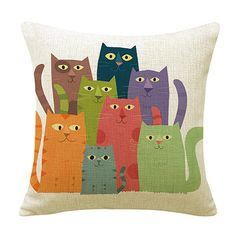 Cat Family Cotton Linen Cushion Case