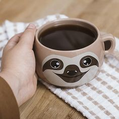Sit back and do nothing as this sloth-shaped mug is the perfect excuse to laze around with a nice hot cuppa. With ears for handles, this adorable Sloth Mug will soon be the only thing you want to drink out of. It's made of high quality ceramic Cool Mugs, Unique Coffee Mugs, My Coffee, Coffee Cups, Funny Coffee, Cute Cups, Unique Gifts For Women, Tea Mugs, Bowls