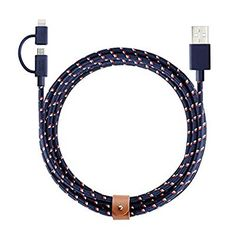 Native Union BELT Twin Head - 2 Meter Charging/Sync Braided Cable with Integrated 2-in-1 Adaptor for All Apple Lightning and Micro-USB Devices (Nautical)