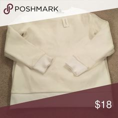 NEED GONE NWT Banana Republic crew sweatshirt XS White with a semi-sheer overlay that is super smooth! Banana Republic Sweaters