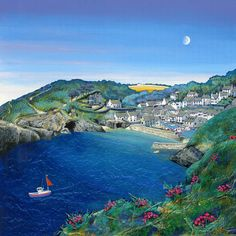 Polperro | Gilly Johns Seaside Art, Sea Dream, Homemade Art, Funky Art, Naive Art, Art For Art Sake, Beautiful Artwork, Landscape Art, Pretty Pictures