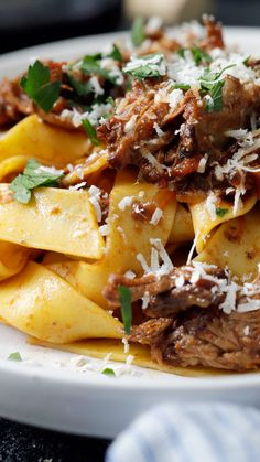 Let the bold flavors of our slow cooker beef ragu melt in your mouth as the pappardelle twirls on your tongue. Let the bold flavors of our slow cooker beef ragu melt in your mouth as the pappardelle twirls on your tongue. Pappardelle Pasta, Recipes With Pappardelle Noodles, Meat Recipes, Seafood Recipes, Pasta Recipes, Cooking Recipes, Cooking Ideas, Sauces, Italian Recipes