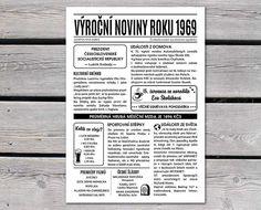 narozeninové noviny 1969 - černobílé Art School, Event Ticket, Personalized Items, Birthday, Gifts For Birthday, Birthdays, Birth Day