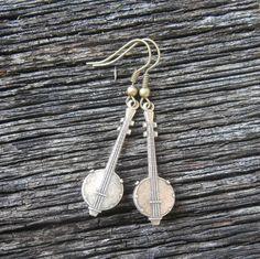 Bum Ditty Banjo Earrings in Bronze by MaggiesFarm on Etsy