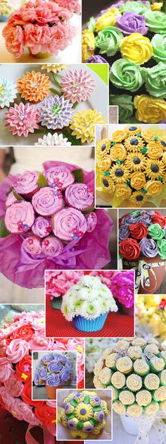 Cupcake bouquets, what a lovely idea for gifts. I could start a business out of this cupcakes or flowers. Cupcakes Design, Love Cupcakes, Yummy Cupcakes, Floral Cupcakes, Cupcake Flower Bouquets, Edible Bouquets, Diy Flower, Cakepops, Cake Decorating Tips