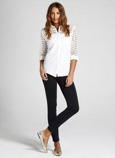Ivory Block Broderie Shirt | Tops | MintVelvet - something a bit nicer for every day or good for casual supper with skinny jeans and heals....