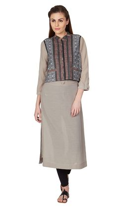 Grey Kurta and Jacket Ensemble in signature Ritu Kumar Print