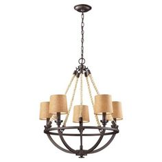 Check out this item at One Kings Lane! Quincy 5-Light Natural Rope Chandelier