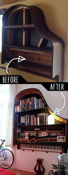 DIY Furniture Hacks    Grand Piano Bookshelf    Cool Ideas for Creative Do It Yourself Furniture Made From Things You Might Not Expect - http://diyjoy.com/diy-furniture-hacks More on good ideas and DIY