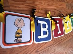 charlie brown birthday party   Charlie Brown Birthday Banner   Party Ideas